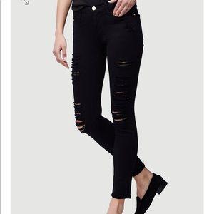 FRAME black ripped skinny jeans